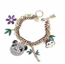 BJ124 Betsey Johnson Monkey & Panda Head Charm Bracelet w/Tags