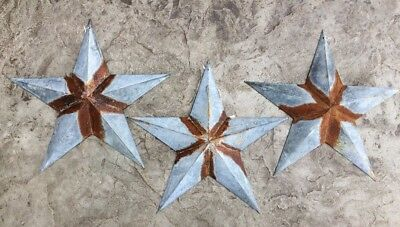 "Set of 3 12/"" GALVANIZED RUSTY BARN STARS Metal Tin  Primitive Country"