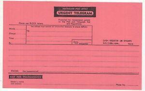 Australia-URGENT-TELEGRAM-form-in-RED-unused-circa-1960-039-s