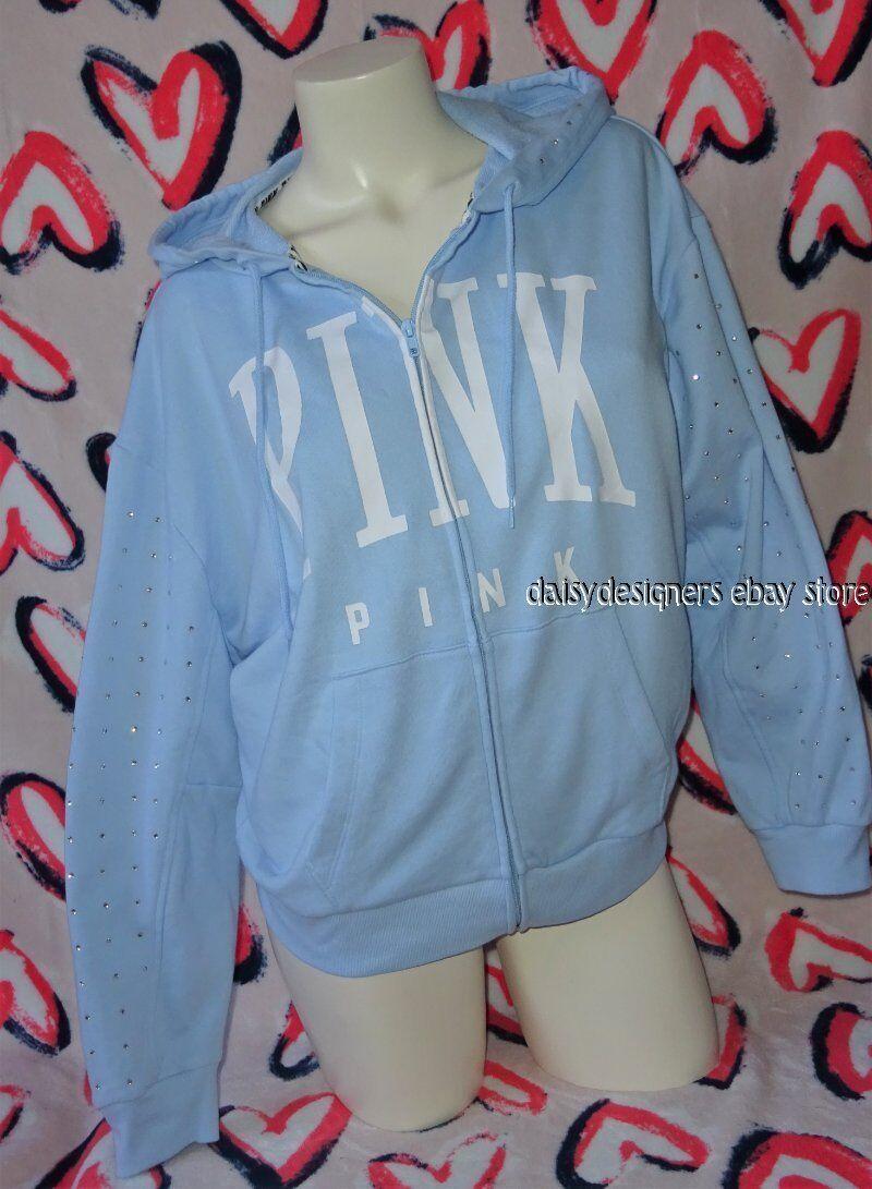 NWT Victoria's Secret Rosa Light Blau RHINESTONE BLING Boyfriend Hoodie XS