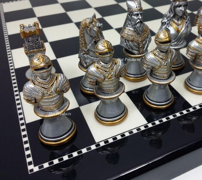 Los tiempos medievales cruzadas Bustos oro plata juego de ajedrez con 15  placa negro brillante
