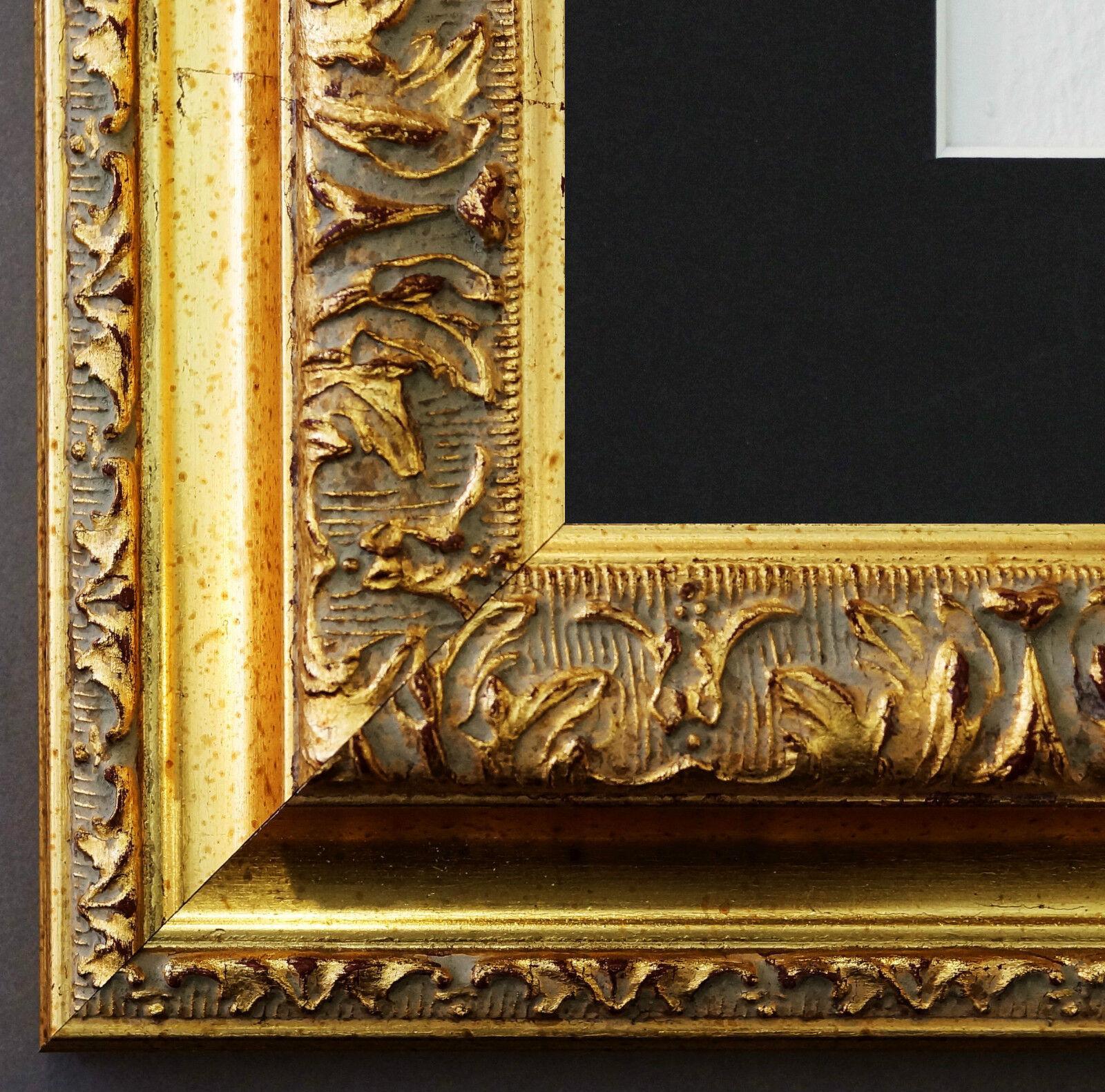 Bilderrahmen Rom in Gold mit Passepartout in Schwarz 6,5 - NEU alle Größen