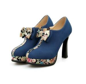 Womens-High-Heels-Platform-Shoes-Pumps-Occident-Pull-On-Chic-Bowknot-Suede-New