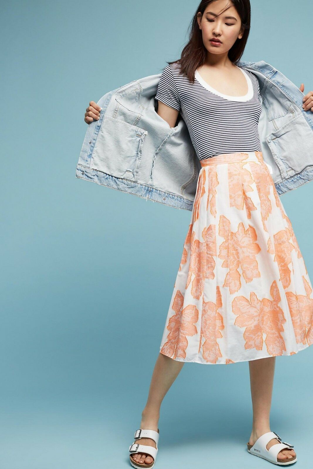 New Anthropologie Arboretum Skirt size 6 orange Retail  128