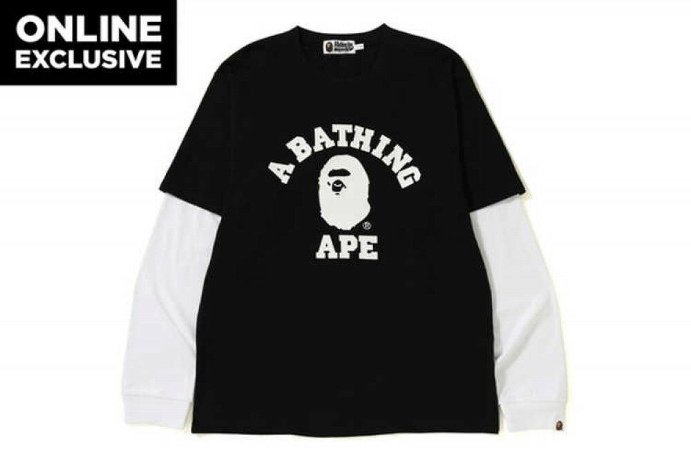 A BATHING APE ONLINE EXCLUSIVE Mens L S TEE COLLEGE LAYERED L BK FastShip JP EMS