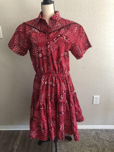Vintage Bandana Print Dress Retro