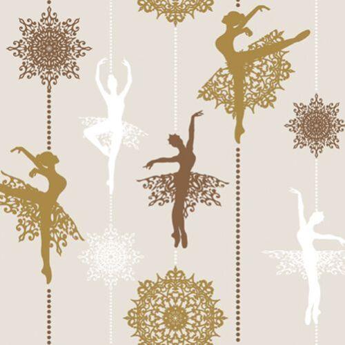 Almuerzo Servilletas De Navidad papel de 20 año Nuevo Navidad De Cobre Prima Ballerina