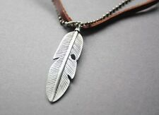 NEW Leather Men's Metal Pendant Surfer Necklace Choker Feather