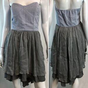 jolie  elizabeth medium seersucker gray silk corset flare