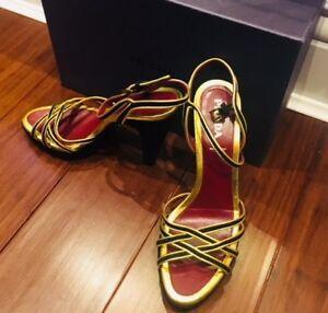 sandali indossati scamosciata Prada una pelle Genuini in al volta chiuso taglia 39 qw1dnC