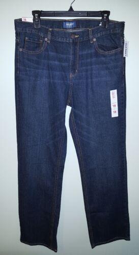NEW Old Navy Boys 18 HUSKY Straight Leg Jeans ADJUSTABLE WAIST Dark Wash #527817