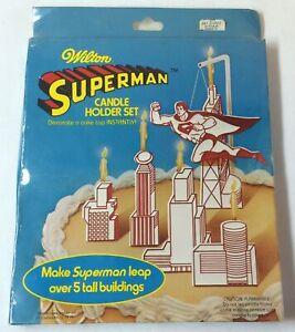 1979-Wilton-SUPERMAN-cake-candle-holder-set-SEALED