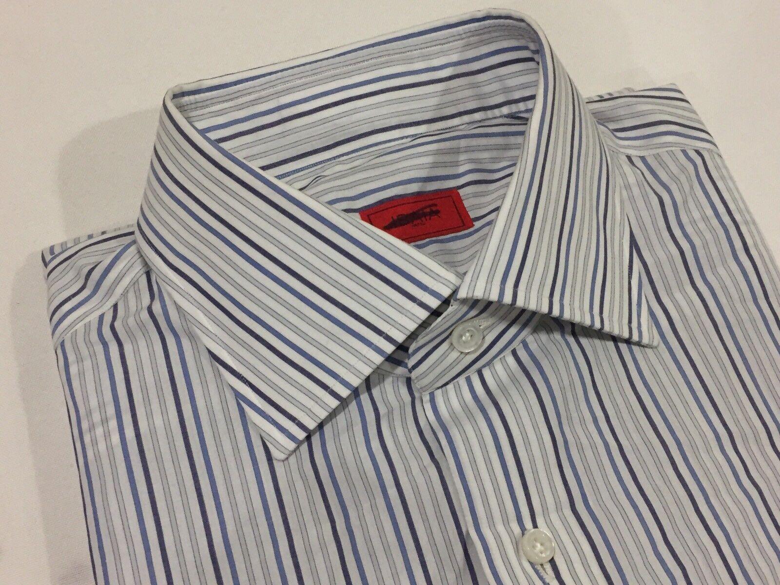 Authentic Brand New Isaia Striped Dress Shirt Größe 41/16 495.00