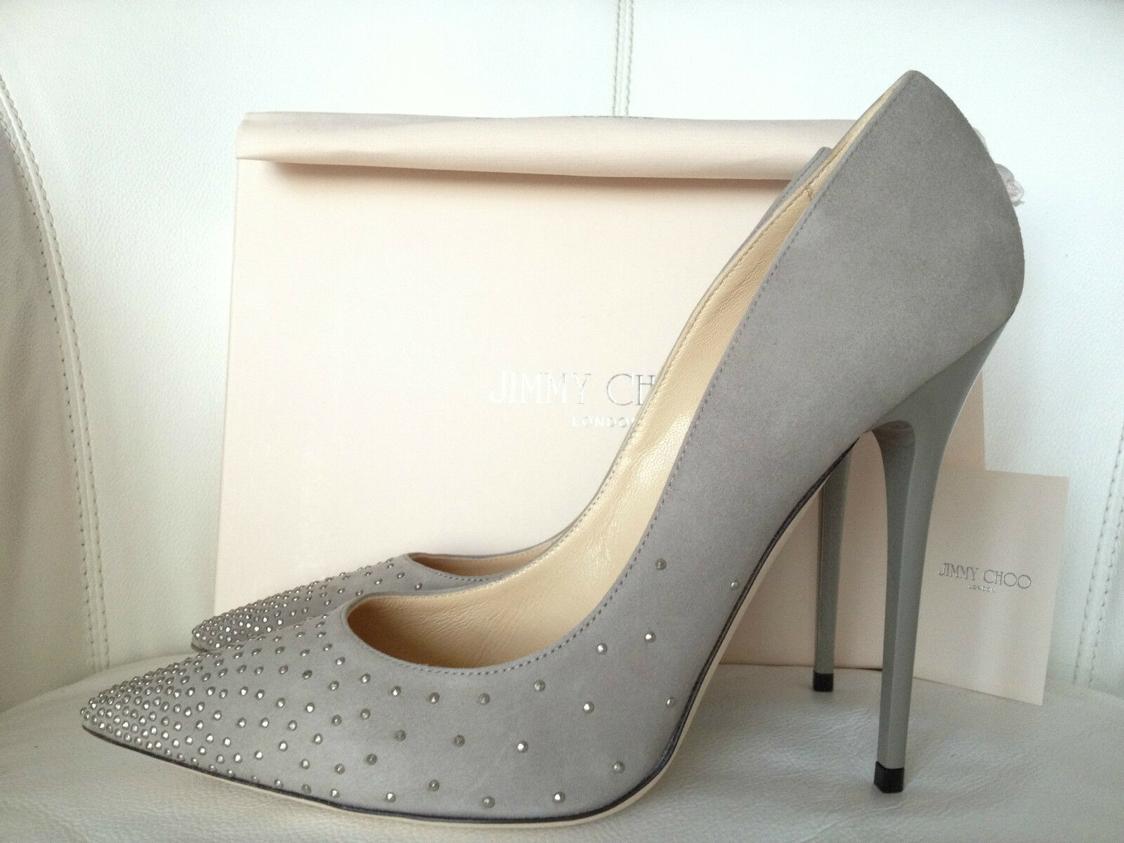 JIMMY CHOO ANOUK 120 gris SUEDE DEGRADE STUDS POINTY POINTY POINTY TOE PUMPS chaussures 39 NIB 61d39d