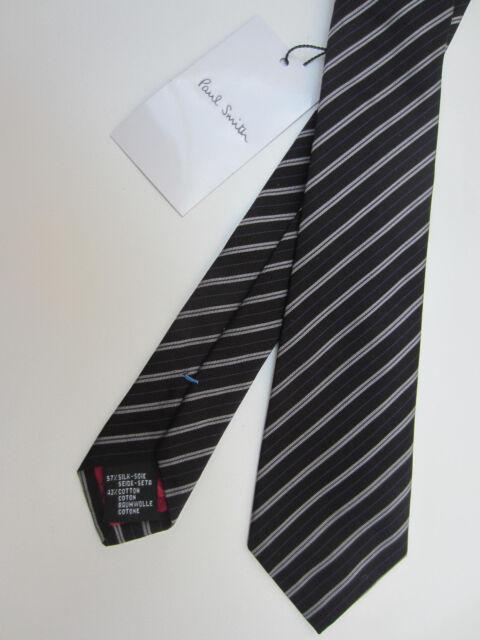 Paul Smith Tie 8cm RRP£85 Made In Italy  Silk 100/% Genuine Stripe Dark Red