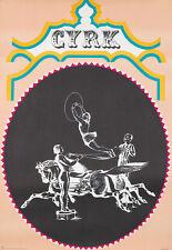 Original Vintage Poster Cyrk Horses Acrobats Poland Circus 1970