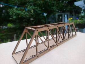 N-Gauge-Layout-Braced-Girder-Rail-Road-Bridge-kit-MDF-2mm-18CM-Long-Layout