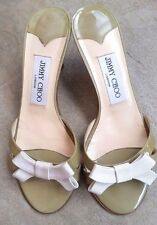 Jimmy Choo Sandal Thurst Grosgrain Bow Patent mules kitten heels sandals Sage 36