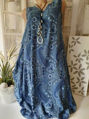 Damenkleid Italy A Linie Blau Sommerkleid Strandkleid Melli Paisley Muster 44-46