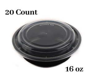 16 oz  Round Microwaveable Plastic Meal Prep Containers with Lids 100 Count