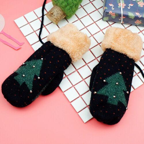 Daman Mädchen Handschuhe Stricken Faux Pelz Weihnachten Winter warmes Geschenk