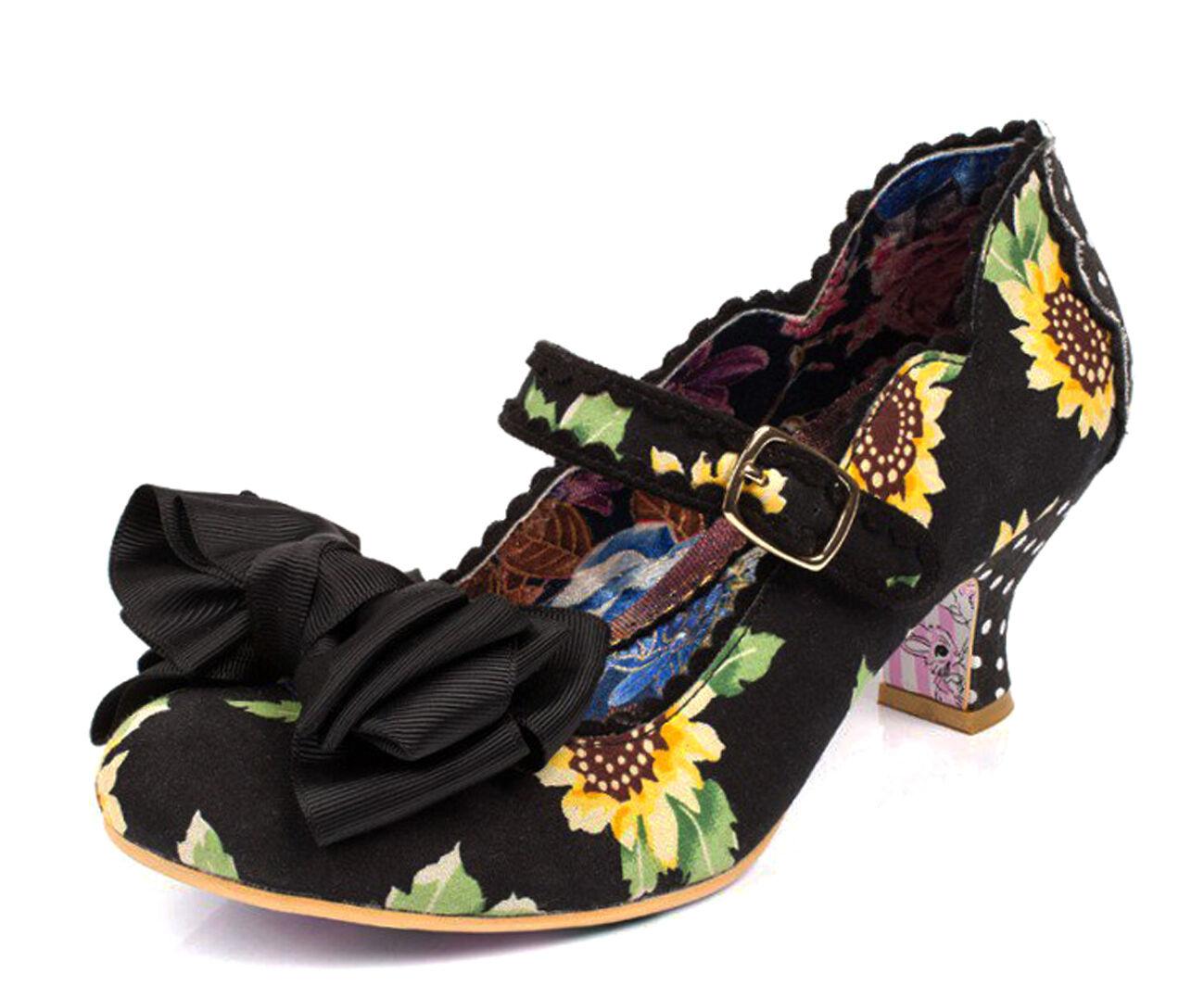 Irregular Choice NEW Summer Breeze Black sunflower floral low heel shoes sz 3-9