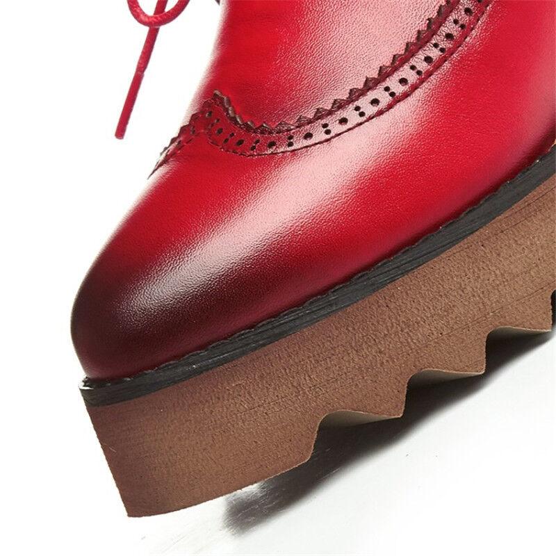 Para mujeres con Tacón de Creepers Cuña Plataforma Plana Encaje Creepers de Zapatos Brogue Oxford Grueso Caliente d6f110