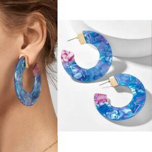 Blue-MARBLE-Opal-RESIN-Acrylic-6cm-HOOP-Statement-EARRINGS-Tortoiseshell-LARGE