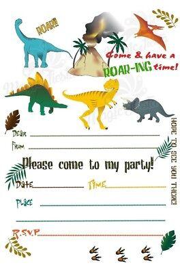 12x Dinosaur invitation cards dinosaur cards kids birthday party invitations ME