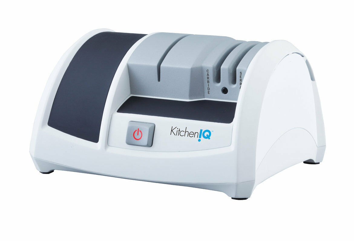 New KITCHEN IQ Electric Knife Sharpener Ceramic Edge - blanc 240V