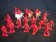 Marx reissue set of 20 Alamo Mexican soldiers presidio type in RED w/ horses