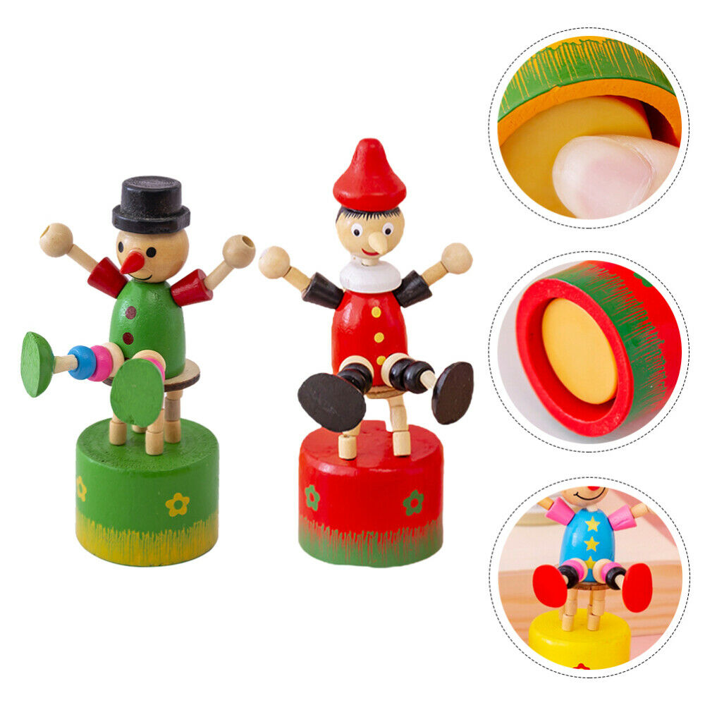 2 Pcs of Decorative Clowns Clown Modeling Props Wood Crafts for Table Porch