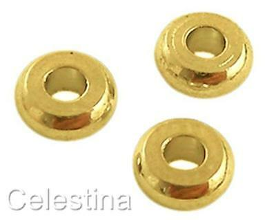 50 x 4mm Gold Colour Round Flat Spacer Beads SP12 - Rondelles - BRASS