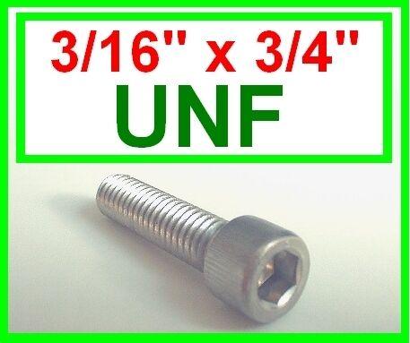 """3//16 x 3//4 /"""" 10 Pacco ACCIAIO Inossidabile UNF Imperial Allen Bulloni Socket Caps"""