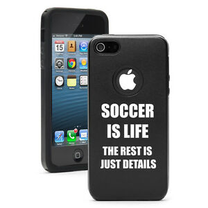 For-iPhone-4-4S-5-5S-5c-Black-Aluminum-Silicone-Case-Soccer-is-Life