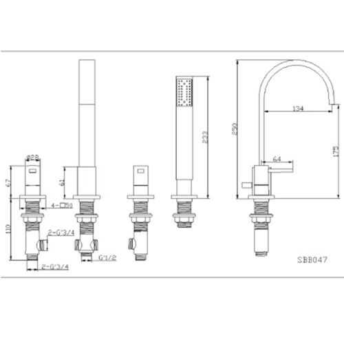 Modern 4 Loch Brause//wannebatterie Wasserhähne Chrom,Einzelhebel,Kreuzkopf