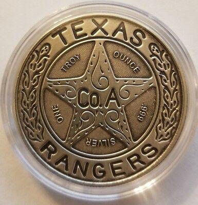 5 oz .999 Silver antiqued Texas Ranger Wagon wheel badge Chuck Norris patina NEW