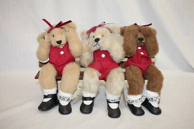 """See Three Bearly There """"hear Speak No Evil"""" Bears On Bench W/signed Tags Sophisticated Technologies"""