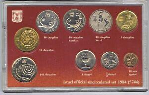 ISRAEL-1984-OFFICIAL-UNC-SET-9-COINS-w-HERZL-amp-HANUKKAH-10-SHEQALIM-COA-CASE