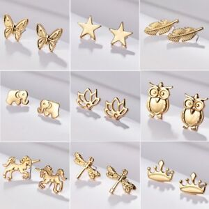 Details About Fashion Gold Heart Erfly Dragonfly Animal Ear Stud Earrings For Women S
