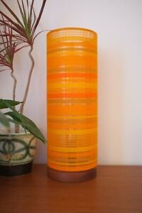 Solid-Wooden-Lamp-with-Retro-Fabric-Lampshade-Original-70s-Sheer-Orange-Fabric