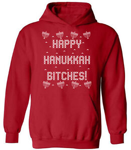 Jewish Christmas Sweater.Details About Happy Hanukkah Bitches Sweatshirt Jewish Holidays Ugly Christmas Sweater Hoodie