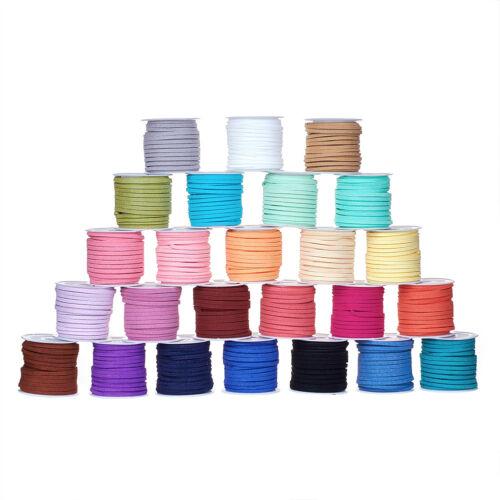 25 Rouleaux Micro Faux Cuir Daim Cordons Plat Fibre Velvet Lace Threads 3x1.5mm