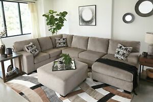 Details about Modern Sectional Living Room Furniture Tan Chenille Sofa  Couch Chaise Set IG3V