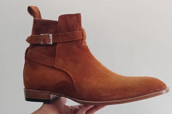 Uomini Tan Marronee Suede Jodhborsett stivali, Men  Fashion Style Ankle High stivali, Me stivali  consegna lampo