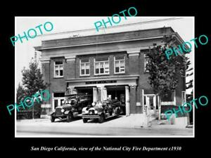 6x4-HISTORIC-PHOTO-OF-SAN-DIEGO-CALIFORNIA-THE-NATIONAL-CITY-FIRE-STATION-c1930
