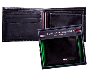 Geniune New Tommy Hilfiger Black Leather Mens Stockton Coin wallet Authentic