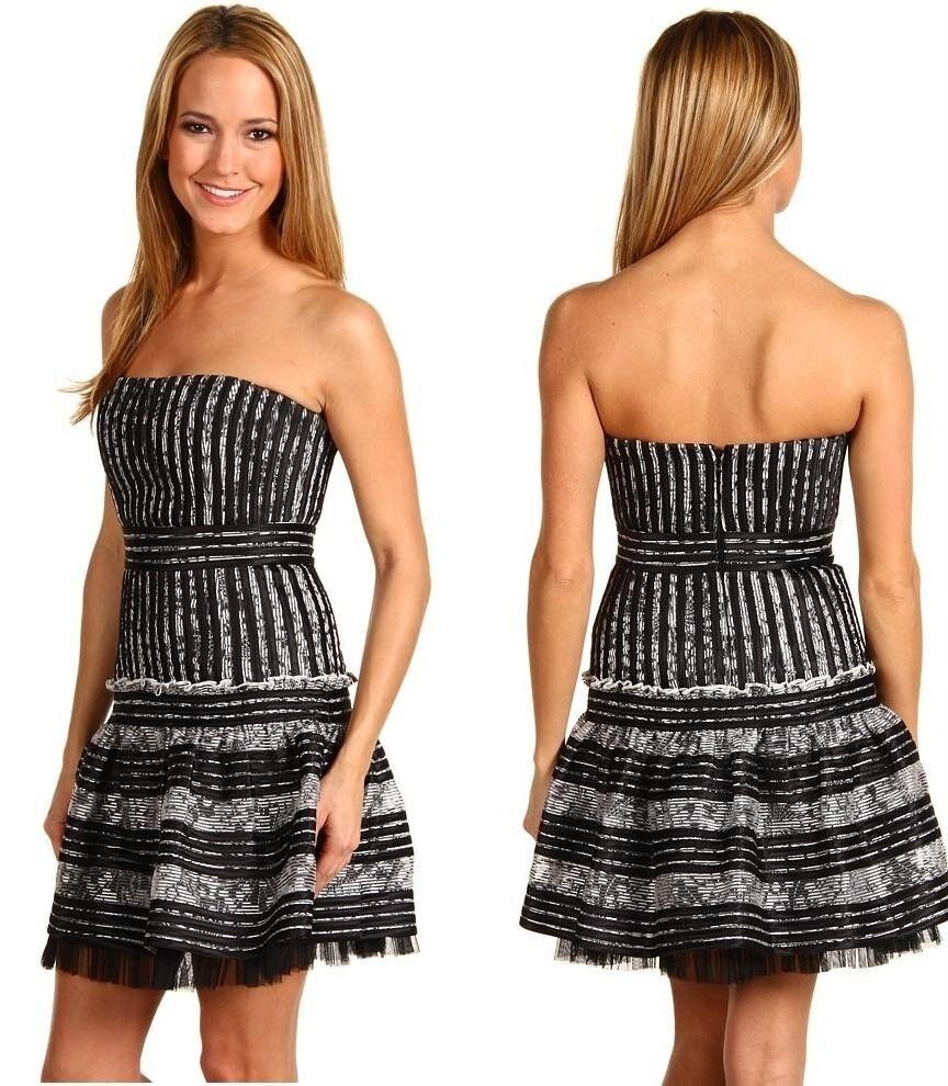 348 BCBGMAXAZRIA  Madeline 2 Striped  Mini Party Dress  SZ  4