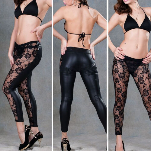 Womens Wet Look Gothic Lace Floral Rose Leggings Sheer Low Waist Slim Pants XS-M