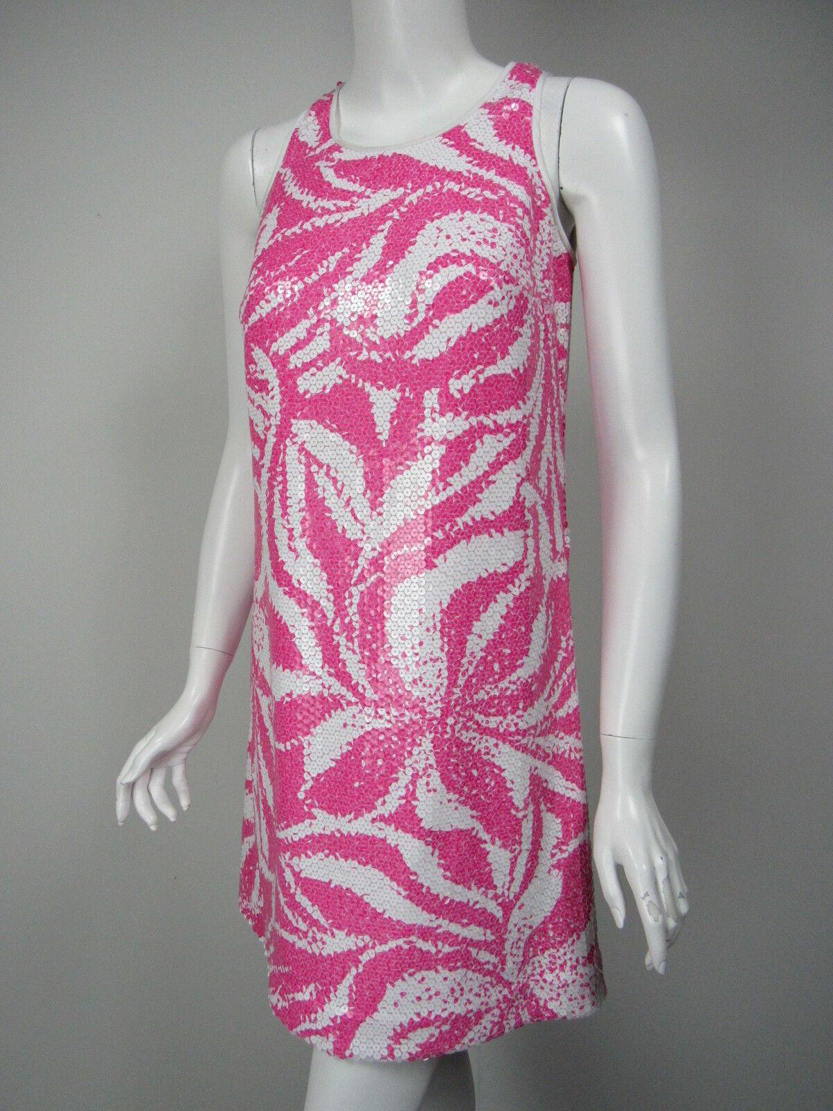 LILLY PULITZER Courtin Fuchsia White Print Sequin Covered Shift Shift Shift Dress sz 2 87fd83